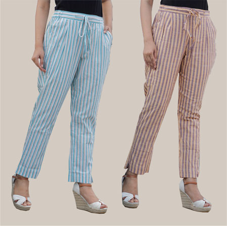 Combo of 2 Cotton Stripe Pant with Belt Cyan and Beige-35175