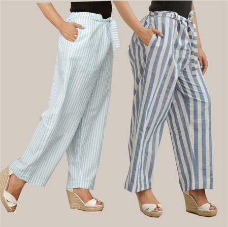 Combo of 2 Cotton Stripe Pant with Belt Cyan and Blue-35164