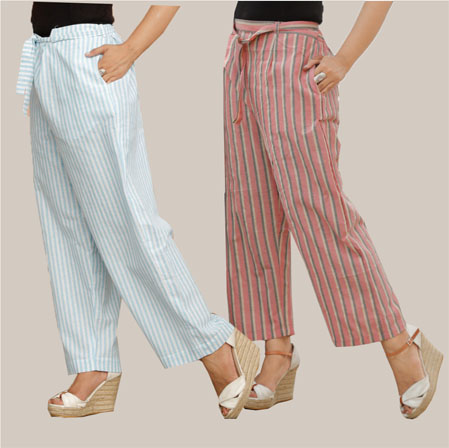 Combo of 2 Cotton Stripe Pant with Belt Cyan and Pink-35127