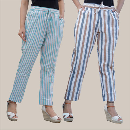 Combo of 2 Cotton Stripe Pant with Belt Cyan and White-35173