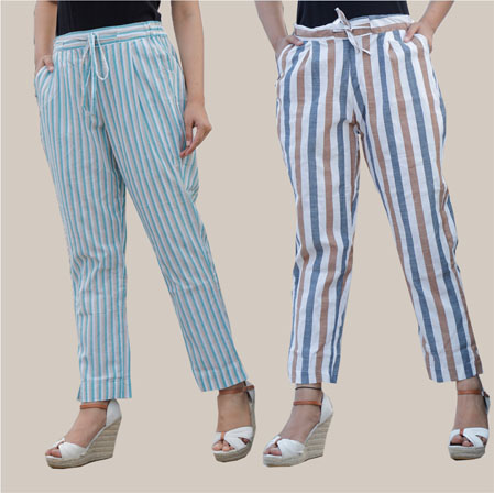 Combo of 2 Cotton Stripe Pant with Belt Cyan and White-35183