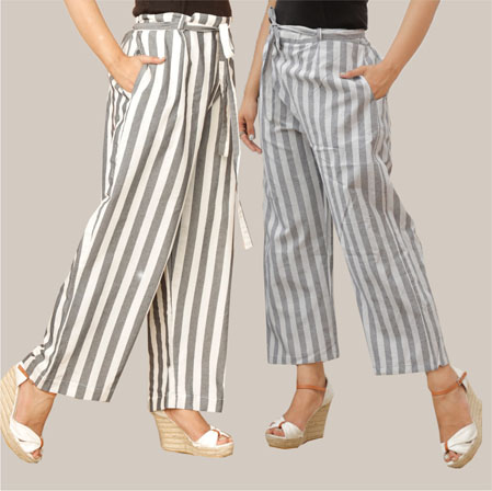 Combo of 2 Cotton Stripe Pant with Belt Gray and Black-35150