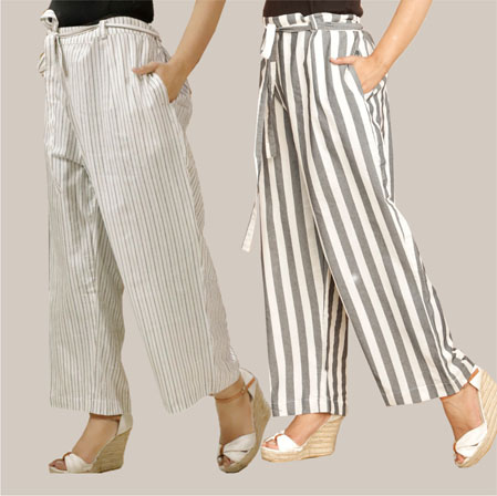 Combo of 2 Cotton Stripe Pant with Belt Gray and Black-35153