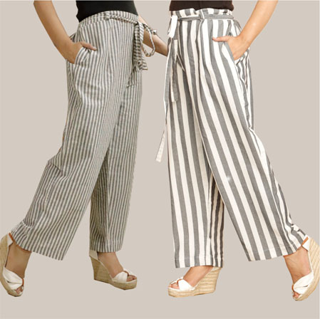 Combo of 2 Cotton Stripe Pant with Belt Gray and Black-35157