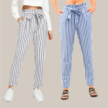 Combo of 2 Cotton Stripe Pant with Belt Gray and Blue-35187