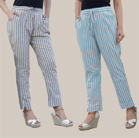 Combo of 2 Cotton Stripe Pant with Belt Gray and Cyan-35176