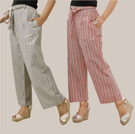 Combo of 2 Cotton Stripe Pant with Belt Gray and Pink-35124