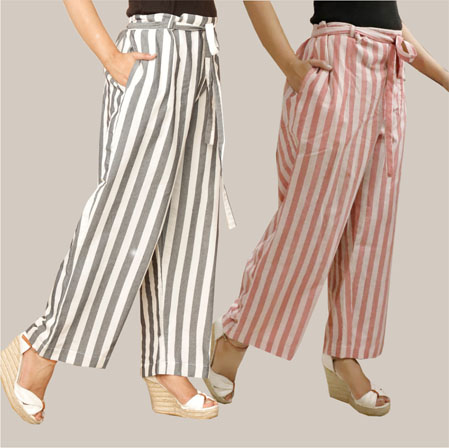 Combo of 2 Cotton Stripe Pant with Belt Gray and Pink-35132