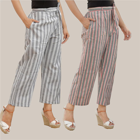 Combo of 2 Cotton Stripe Pant with Belt Gray and Pink-35139
