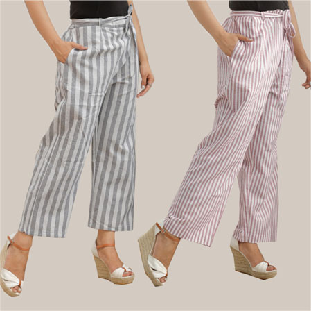 Combo of 2 Cotton Stripe Pant with Belt Gray and Purple-35143