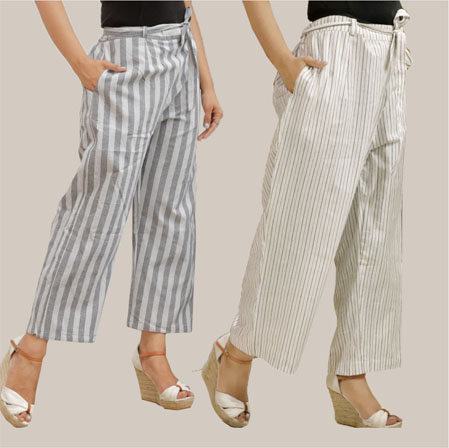 Combo of 2 Cotton Stripe Pant with Belt Gray and White-35141