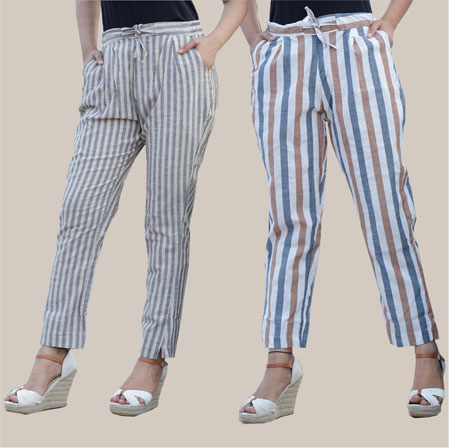 Combo of 2 Cotton Stripe Pant with Belt Gray and White-35181