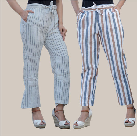 Combo of 2 Cotton Stripe Pant with Belt Gray and White-35185