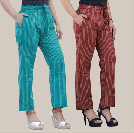 Combo of 2 Cotton Stripe Pant with Belt Green and Mehroon-35165