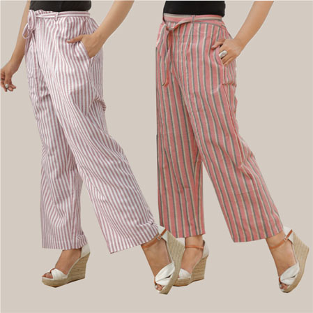 Combo of 2 Cotton Stripe Pant with Belt Light Pink and Pink-35129