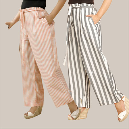 Combo of 2 Cotton Stripe Pant with Belt Peach and Black-35155