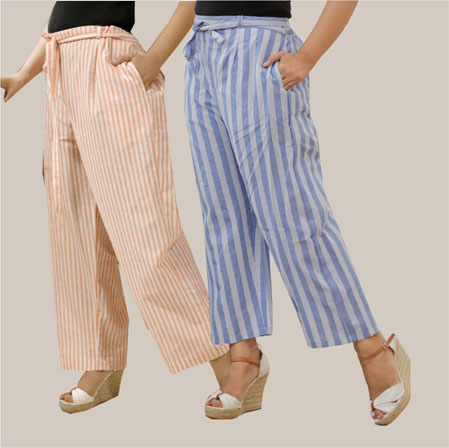 Combo of 2 Cotton Stripe Pant with Belt Peach and Blue-35148