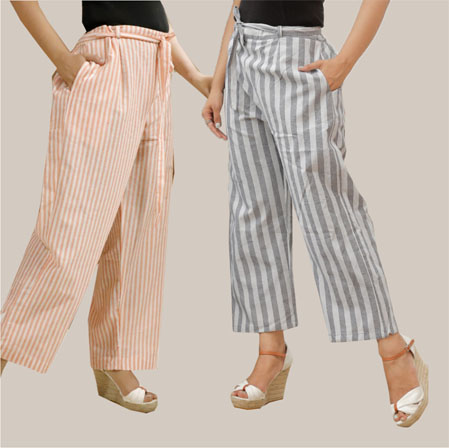 Combo of 2 Cotton Stripe Pant with Belt Peach and Gray-35144