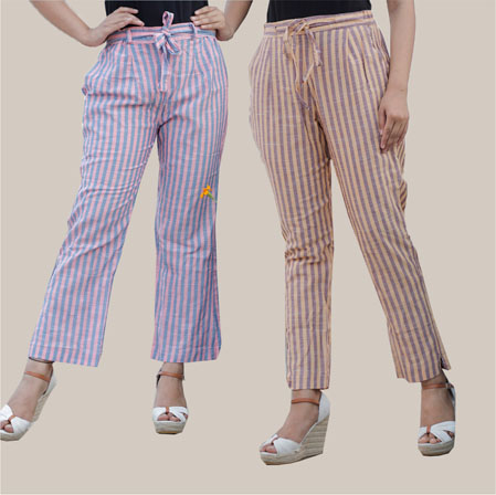 Combo of 2 Cotton Stripe Pant with Belt Pink and Beige-35172