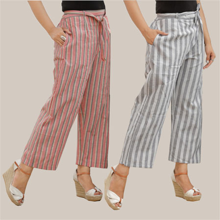 Combo of 2 Cotton Stripe Pant with Belt Pink and Blue-35121