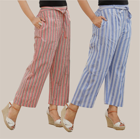 Combo of 2 Cotton Stripe Pant with Belt Pink and Blue-35125