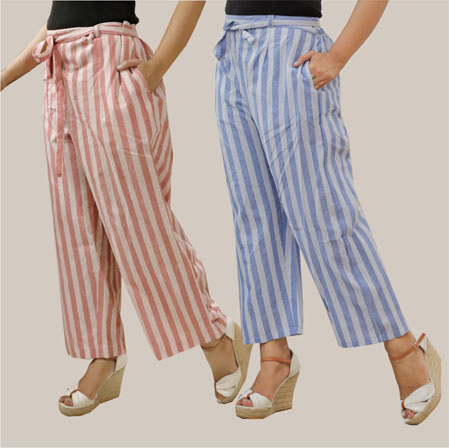 Combo of 2 Cotton Stripe Pant with Belt Pink and Blue-35135