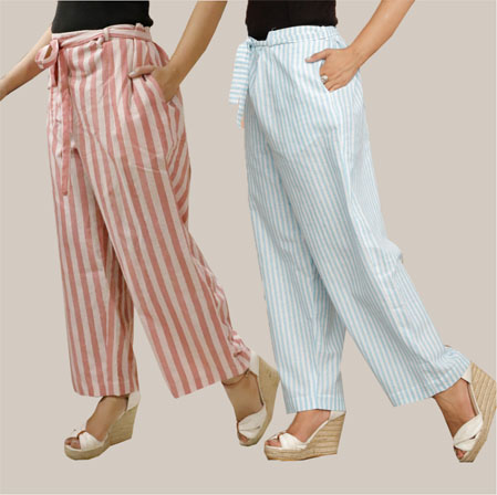 Combo of 2 Cotton Stripe Pant with Belt Pink and Cyan-35136