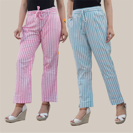 Combo of 2 Cotton Stripe Pant with Belt Pink and Cyan-35174