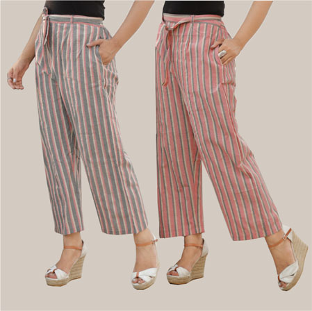 Combo of 2 Cotton Stripe Pant with Belt Pink and Gray-35122