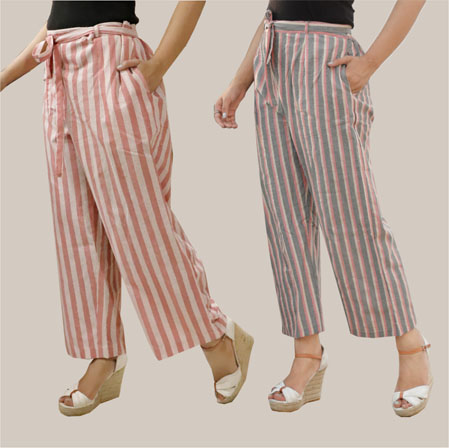 Combo of 2 Cotton Stripe Pant with Belt Pink and Gray-35133