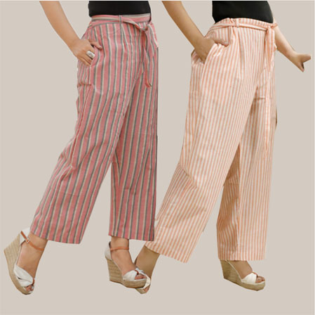 Combo of 2 Cotton Stripe Pant with Belt Pink and Peach-35130