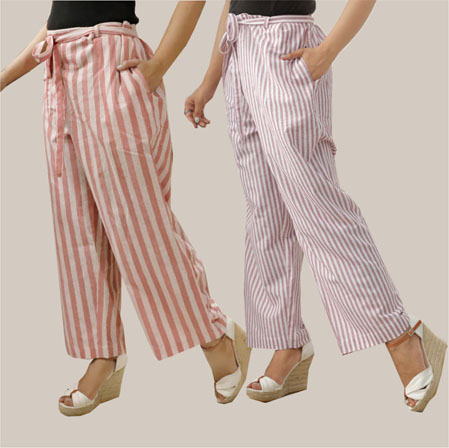 Combo of 2 Cotton Stripe Pant with Belt Pink and Purple-35138
