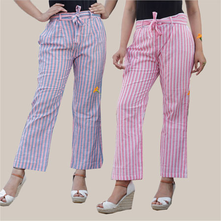 Combo of 2 Cotton Stripe Pant with Belt Pink and White-35171