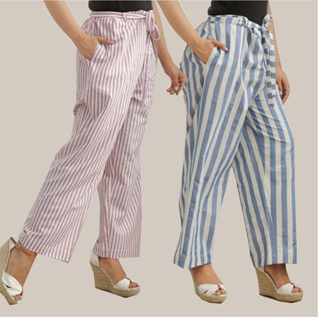 Combo of 2 Cotton Stripe Pant with Belt Purple and Blue-35160