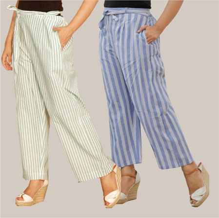 Combo of 2 Cotton Stripe Pant with Belt White and Blue-35146
