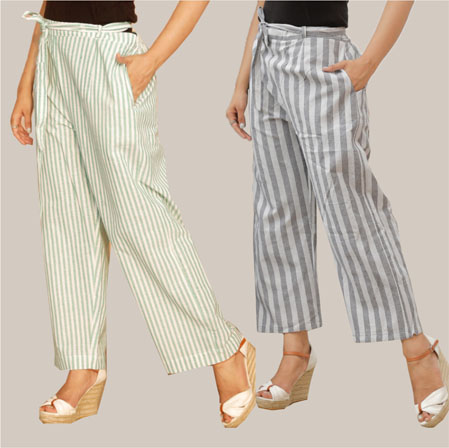 Combo of 2 Cotton Stripe Pant with Belt White and Gray-35142