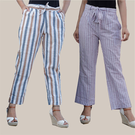 Combo of 2 Cotton Stripe Pant with Belt White and Gray-35184
