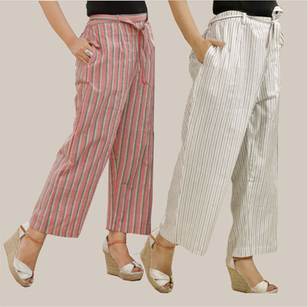 Combo of 2 Cotton Stripe Pant with Belt White and Pink-35123