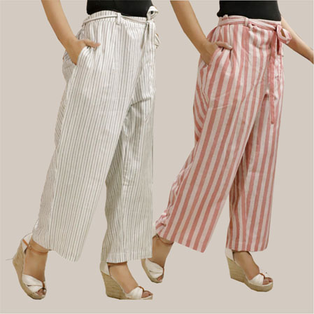 Combo of 2 Cotton Stripe Pant with Belt White and Pink-35134