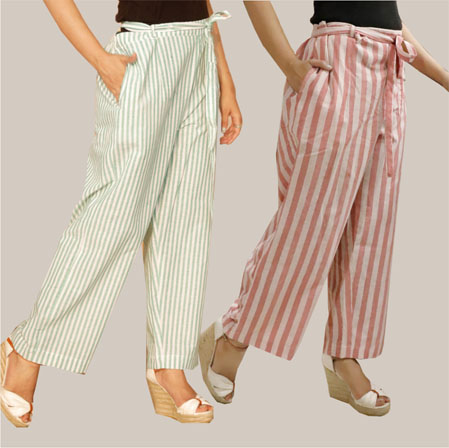 Combo of 2 Cotton Stripe Pant with Belt White and Pink-35137
