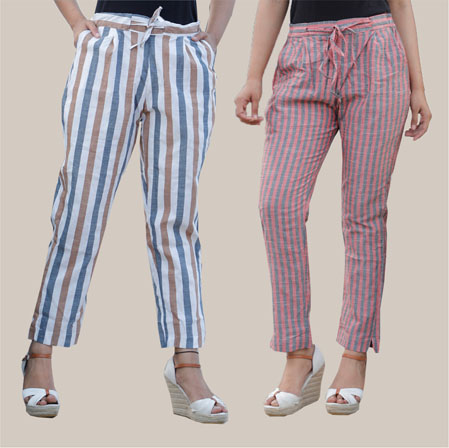 Combo of 2 Cotton Stripe Pant with Belt White and Pink-35180
