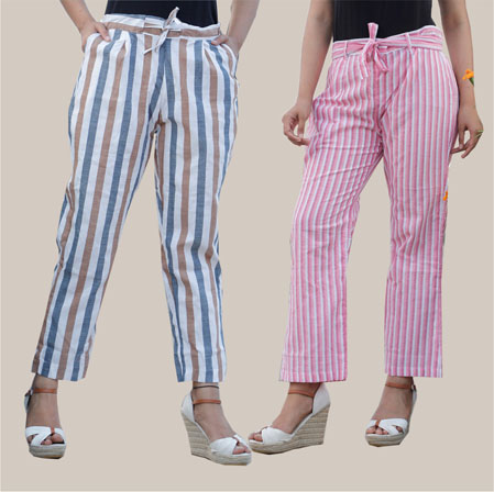 Combo of 2 Cotton Stripe Pant with Belt White and Pink-35182