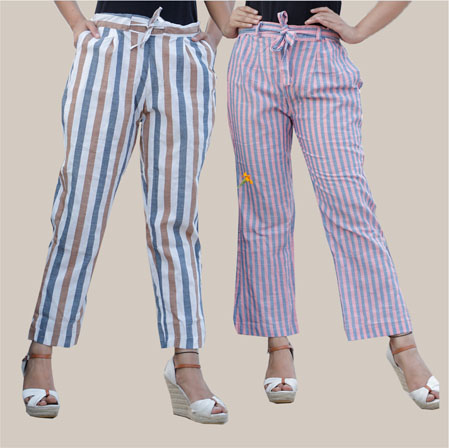 Combo of 2 Cotton Stripe Pant with Belt White and Pink-35186
