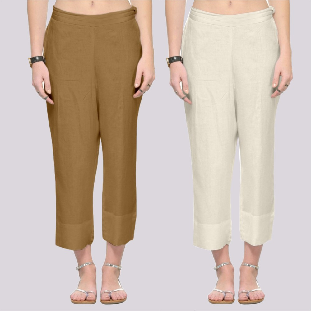 Combo of 2 Rayon Ankle Length Pant Beige and Cream-34368