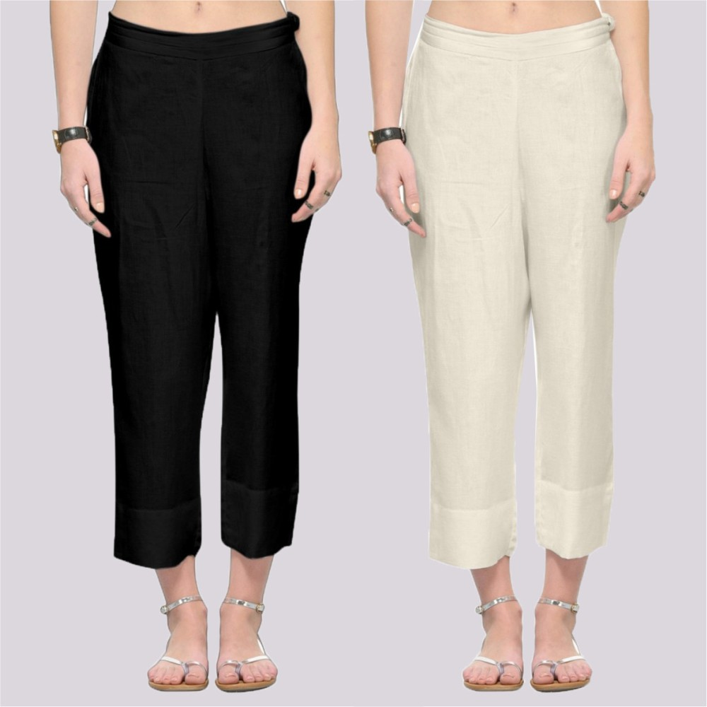 Combo of 2 Rayon Ankle Length Pant Black and Off White-34366