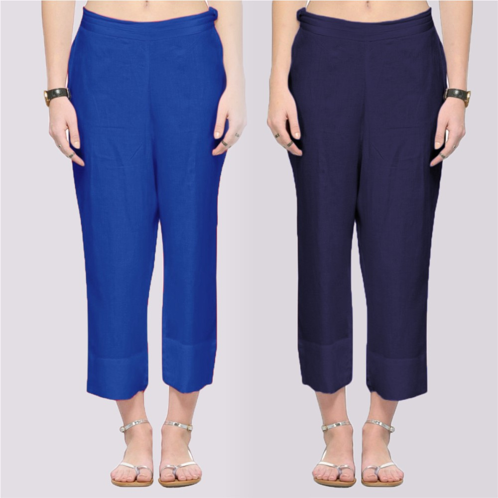 Combo of 2 Rayon Ankle Length Pant Blue and Navy Blue-34360