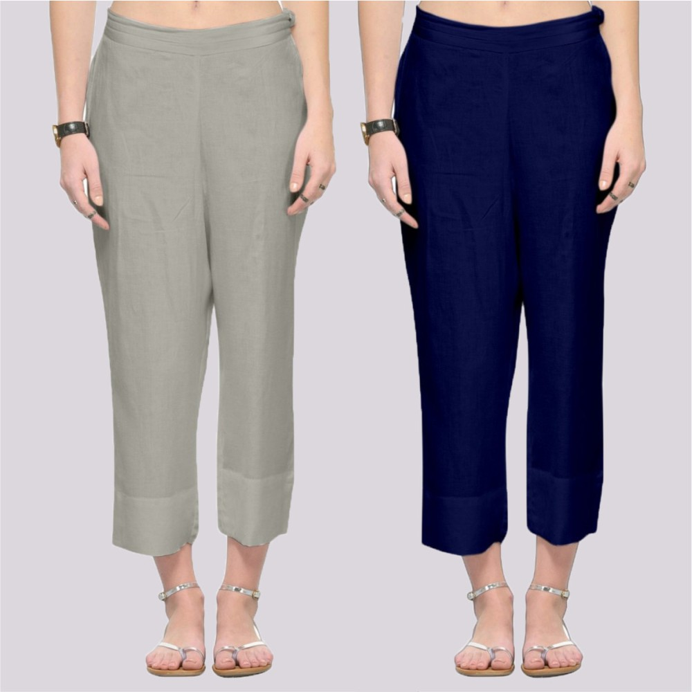 Combo of 2 Rayon Ankle Length Pant Gray and Blue-34361
