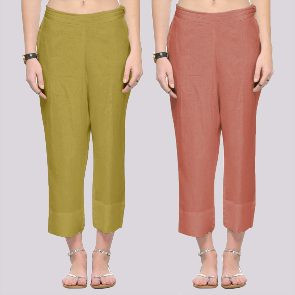 Combo of 2 Rayon Ankle Length Pant Green and Peach-34369