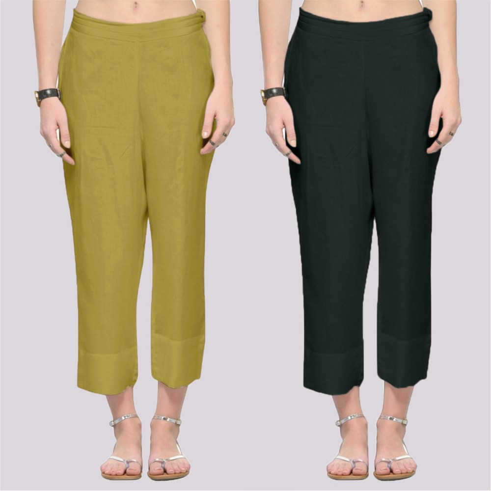 Combo of 2 Rayon Ankle Length Pant Light Green and Dark Green-34383
