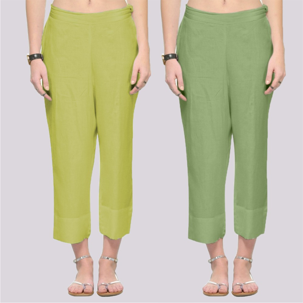 Combo of 2 Rayon Ankle Length Pant Light Green and Olive Green-34376